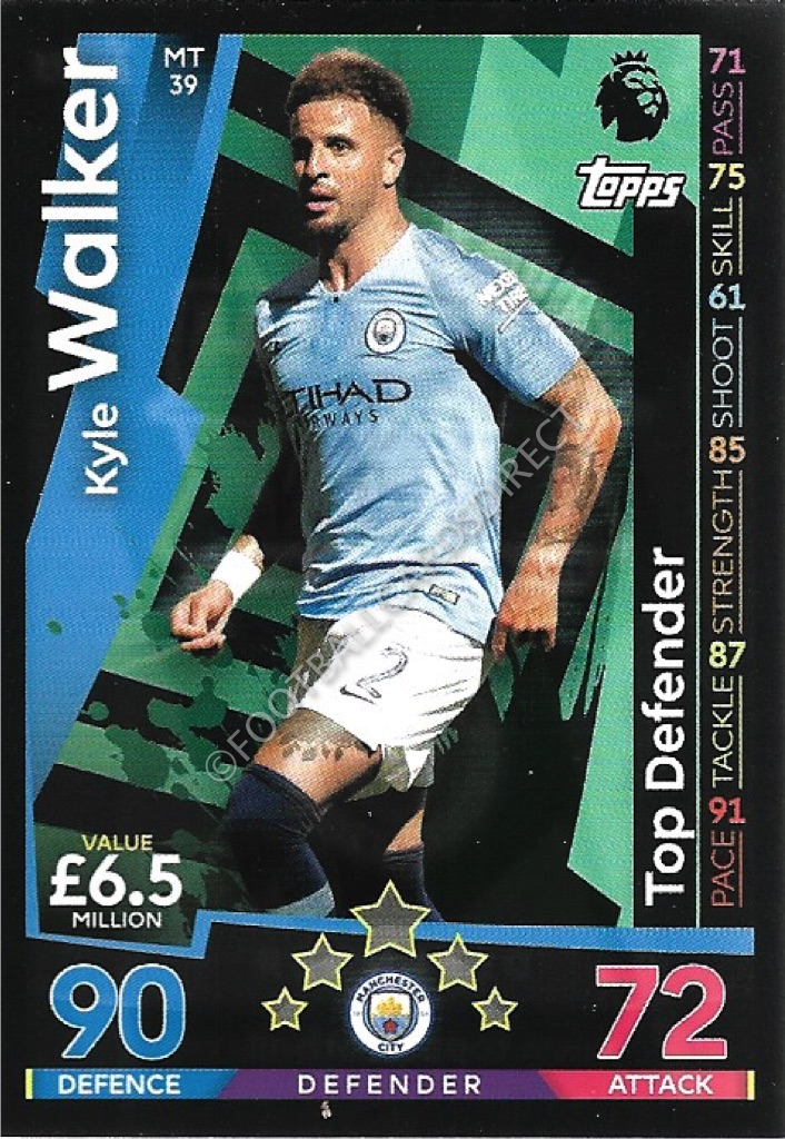 Match Attax 2017//2018 17 18 Premier League Kyle Walker 100 club Carte