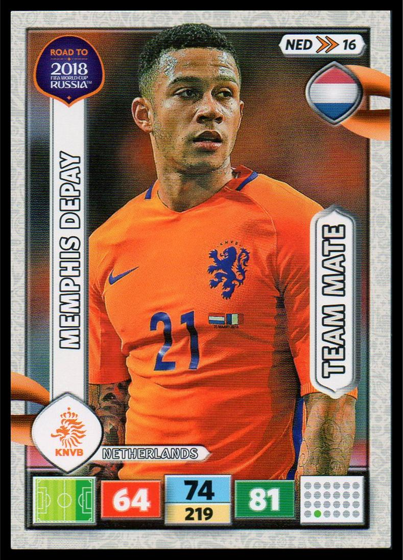 Ned16-memphis Depay-Team mates-Panini Adrenalyn Road to World Cup 2018