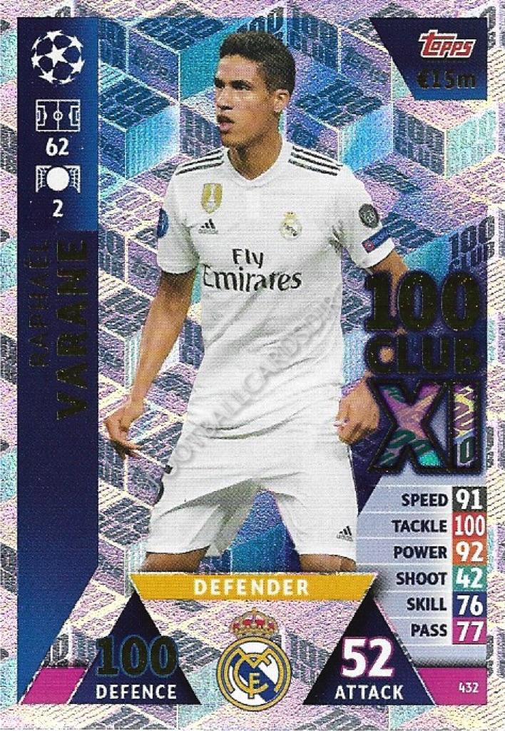 2018 19 UEFA Match Attax 100 Club XL Card Raphaël Varane Real Madrid CF 432