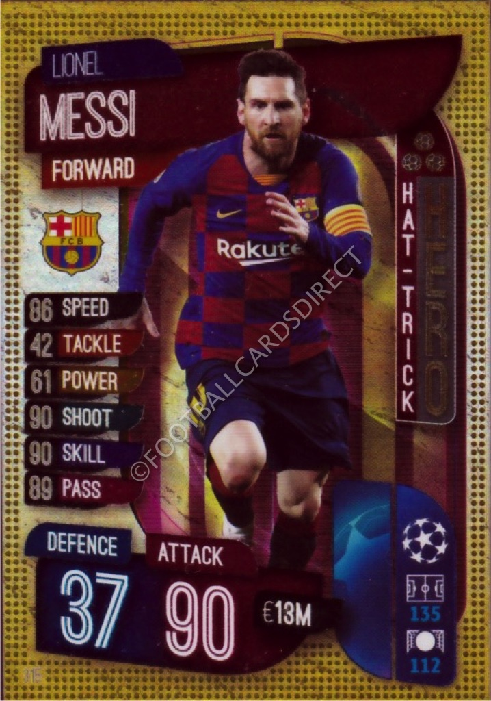 Match Attax Champions League 17//18 Lionel Messi hat-trick Héros trading card
